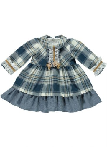 Stunning Baby Girl Spanish Grey Navy Checked Dress